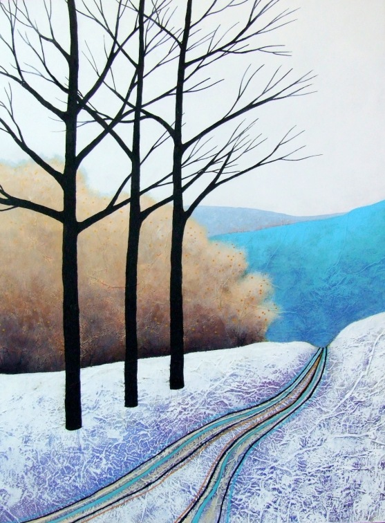 "The Blue Hills ©Deborah Burrow 16x12"" acrylic on deep edge artist's wood panel £295"