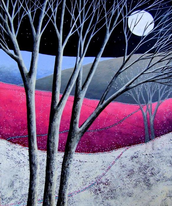 "Enchanted Land ©Deborah Burrow 12x10"" acrylic on deep edge artist's wood panel £245"
