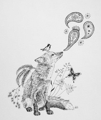 "Foxy Niffs ©Deborah Burrow Framed at 11x9"" £95"