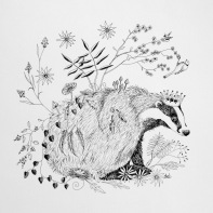 "Good King Badger Hedgehog's Back Garden ©Deborah Burrow Framed at 9x9"" £85"