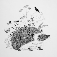 "Hedgehog's Back Garden ©Deborah Burrow Framed at 9x9"" £85"