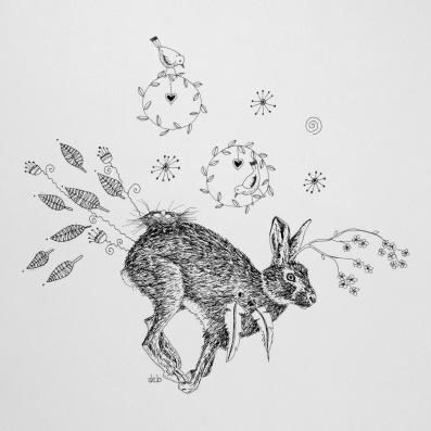 "Kicking Up Hare Hedgehog's Back Garden ©Deborah Burrow Framed at 9x9"" £85"