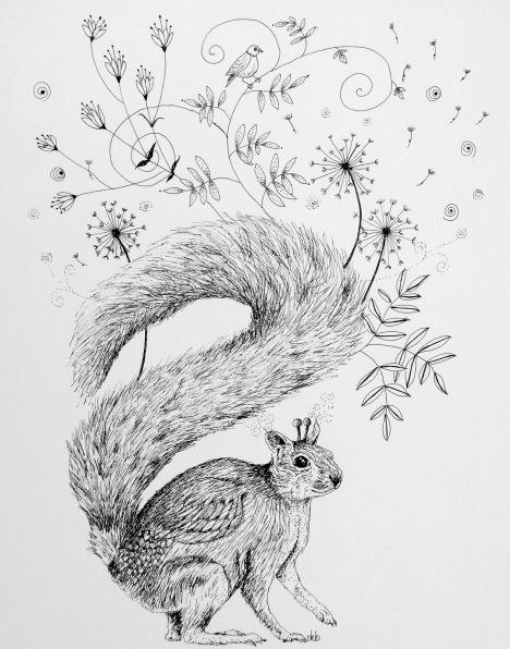 """Swirly Bush Tail ©Deborah Burrow Framed at 11x9"""" £95"""
